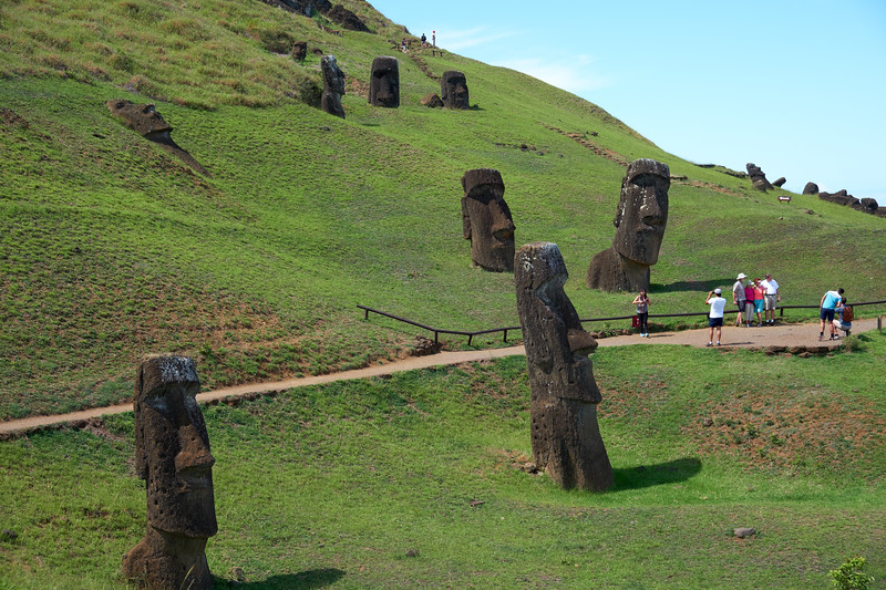 Almost 400 moai in different stages of completion line the crater, some standing and others remain in partial relief in the crater wall.