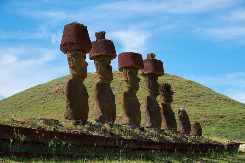 The seven Moai at Anakena were the only Moai on the island found with eyes. Original eyes are in the Museum.