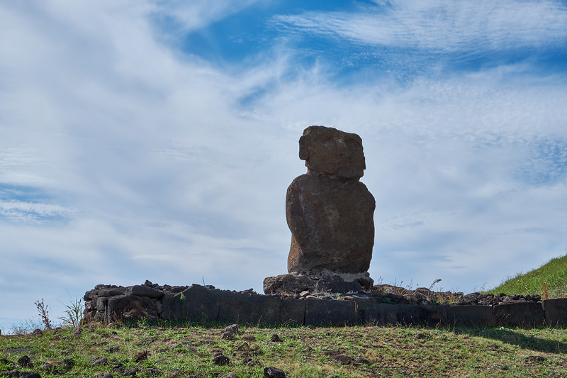 The first Moai to be restored is at Anakena Beach site.