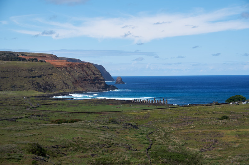 View of Tonariki 15 Moai from Rano Raraku.