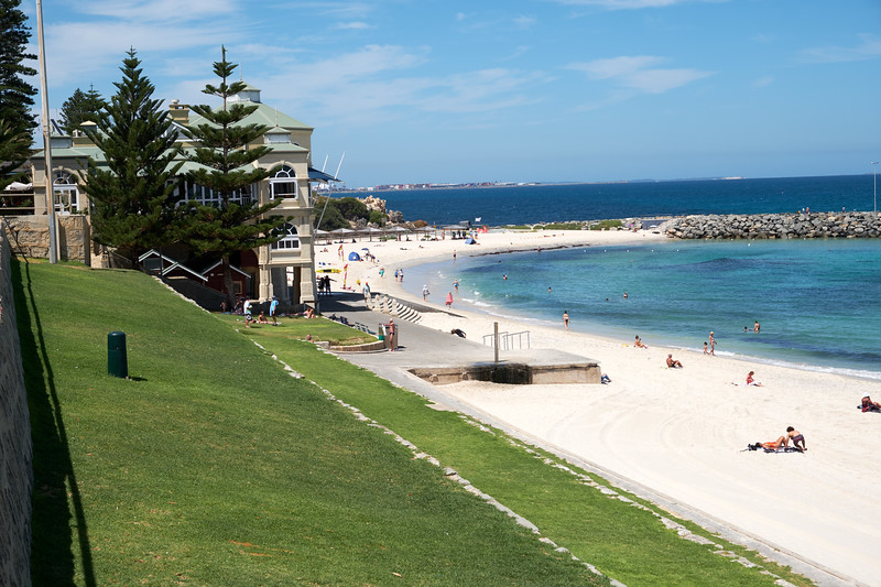 Cottesloe Beach on the Indian Ocean is one of Perth's most popular spots for swimming, snorkling and surfing. The building is the Indiana Tea House.