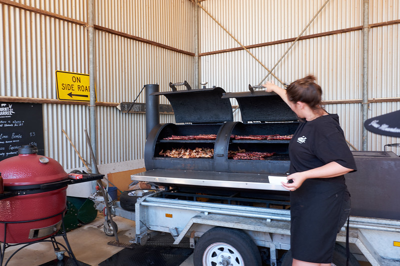 "Burnt Barrel Brew BBQ imported a Kansas City smoker for their ""barby""."
