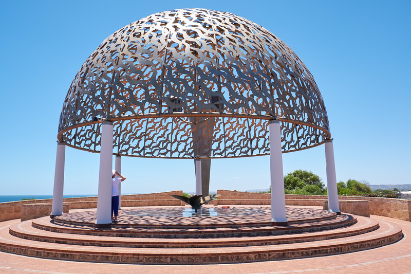 The centerpiece is The Santuary. The seven pillars symbolize the joining of heaven and earth. The dome is made of 645 stainless steel gulls, representing those lost.