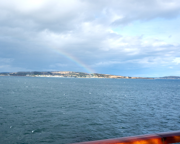 Rainbow from my veranda at sailout. Began the day with a rainbow so it is fitting to end the day in the same manner.
