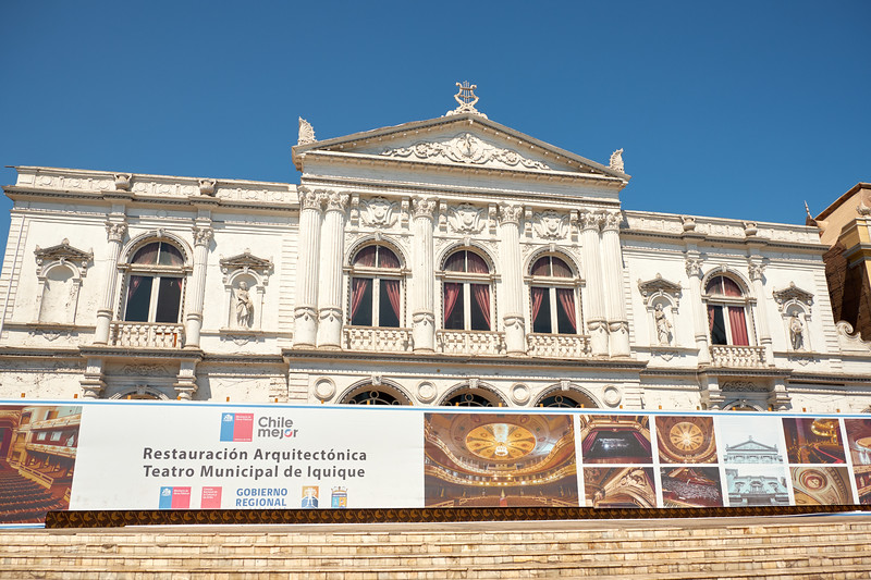 Municipal Theatre is located on one side of Plaza Prat and is currently being rennovated.