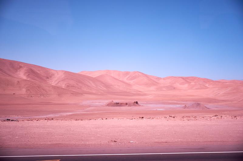 Atacama desert running into the Coastal Mountains (from bus).