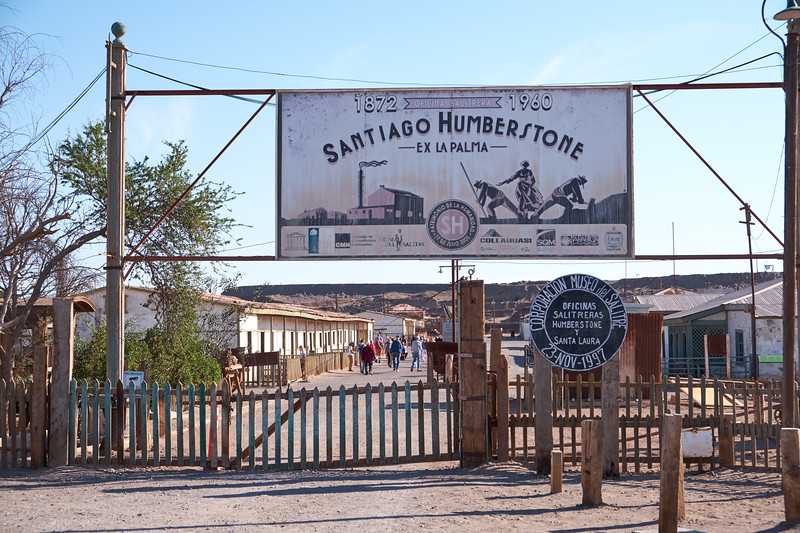 Entrance to Humberstone a town in the Atacama desert that was established to mine saltpeter or nitrate.