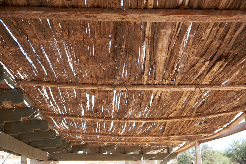 Typical roofing for many of the exterior facilities. This kept areas cool in the middle of the desert.