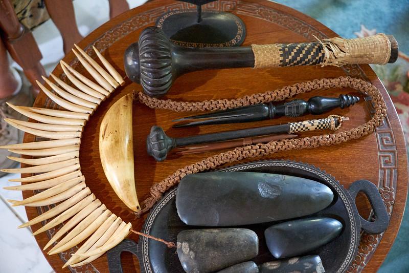 Various Fijian native artifacts.