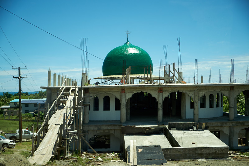 Fijians seem very proud of their multi cultural population and their tolerance and respect for all religions. Pictured is a new mosque being built. (from bus).