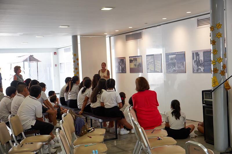 A group of Catholic school children visiting Lima's Holocaust Center on Yom Ha'azmot.