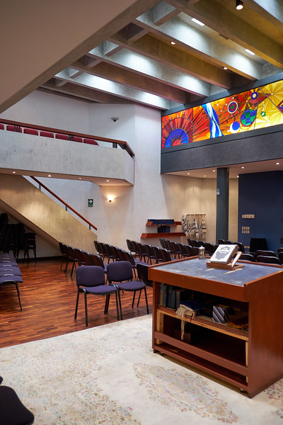 The members of Sinagoga 1870 are predominately German Ashkenazi Jews. What was once the women's section. This is a Conservative congregation where the men and women sit together. It is the only congregation that accepts converts.