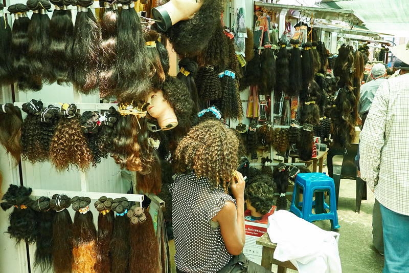 There were rows and rows of stalls selling and styling hair pieces at The Central Market.