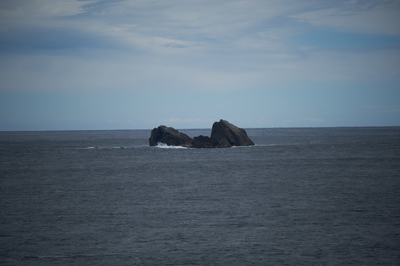 Rock formation known as Hare's Ear's near the exit to Doubtful Sound.