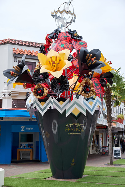 The flowers in this pot are changed seasonally. The current arrangement is left from last week's Art Deco Festival.