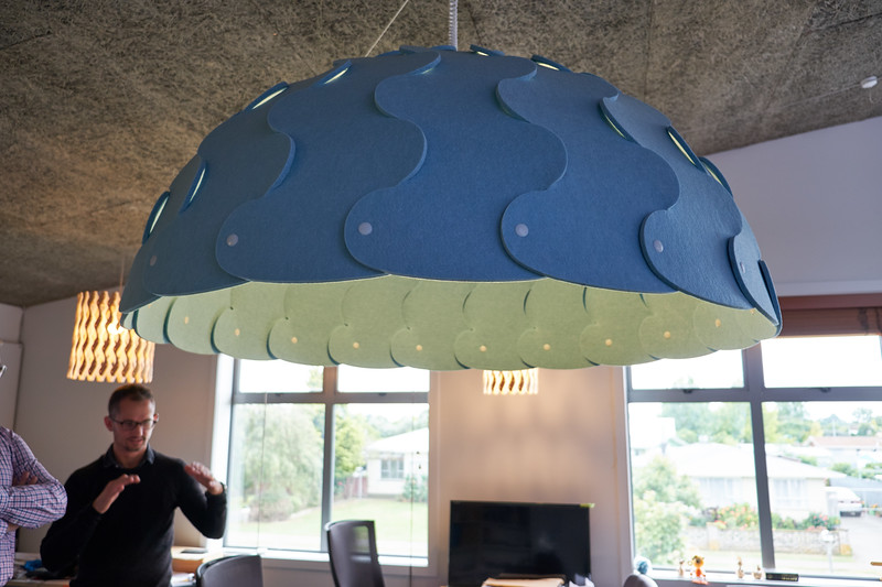 """The """"hush light"""" is made of a felt type material and is predominately sold to hospitals and schools. US Spotify offices have hush light with speakers creating the perfect audio experience."""