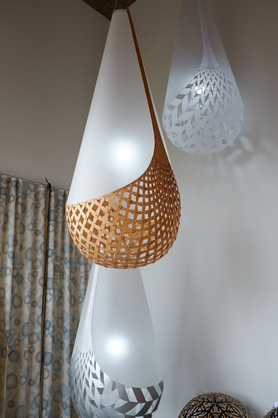 These fixtures are inspired by Maori baskets and are designed to tell a story based on Maori creation myth.