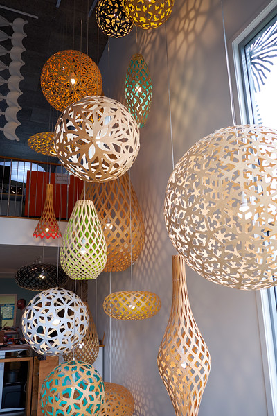 Sculptural luminarires, inspired from nature by David Trubridge.