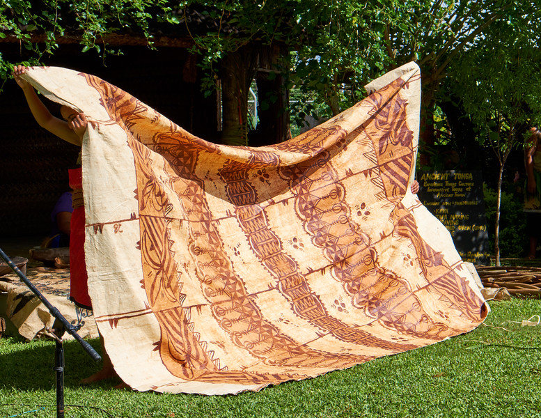 This tapa cloth is worth $2,000 USD. They are given for birthdays, weddings and other special occasions. The body is wrapped in a tapa cloth before being buried.
