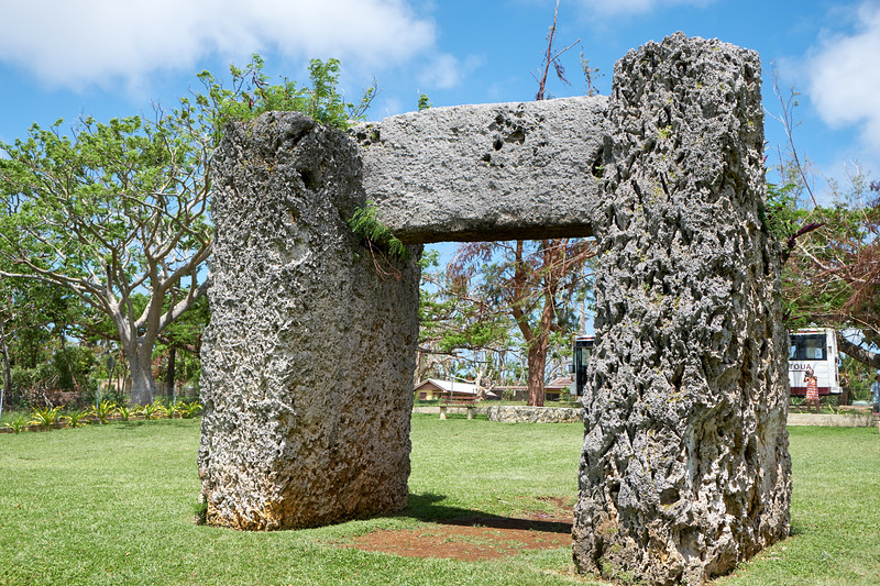 Ha'amonga a Maui is a trilithon of three coral limestone slabs. It was built in the 13th century as a gateway to the Kings royal compound Heketa.