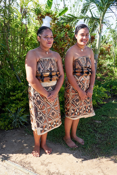 Dresses made of bark cloth or tapa.