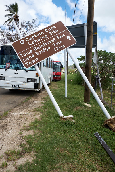 This sign shows the damage left by Cyclone Gita a couple of weeks ago.