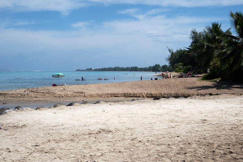Vaiava Beach... white sand because the coast is protected by a full coral reef.