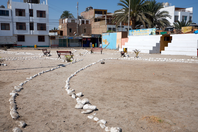 What a park looks like in the desert town of Paracas.