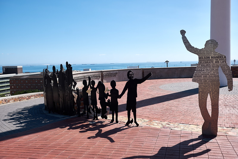 The Voting Line Sculpture represents those who participated in the peaceful April 1994 voting process.