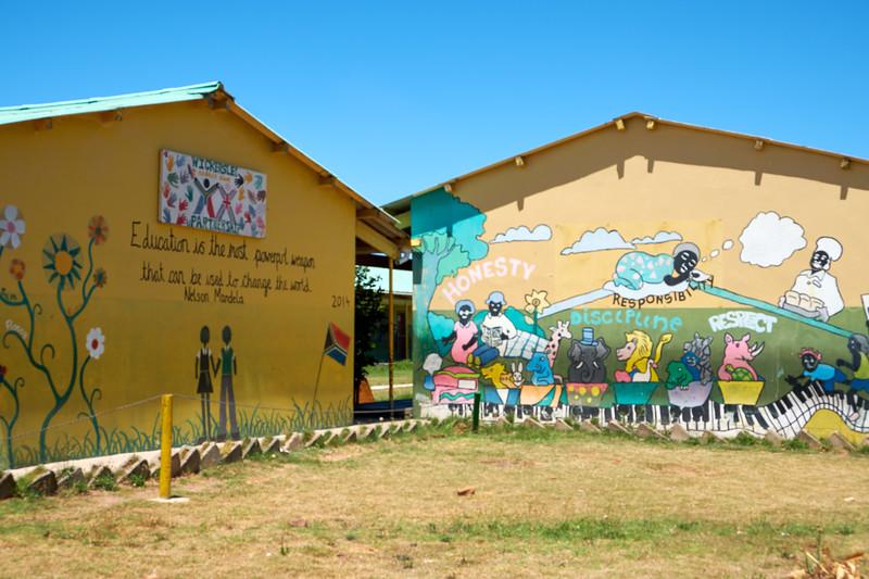 Philosophy of the school displayed through graffiti.