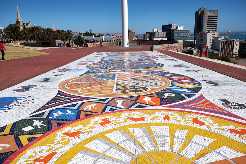 The mosaic was created by students at Nelson Mandela University. It tells the history of Port Elizabeth.