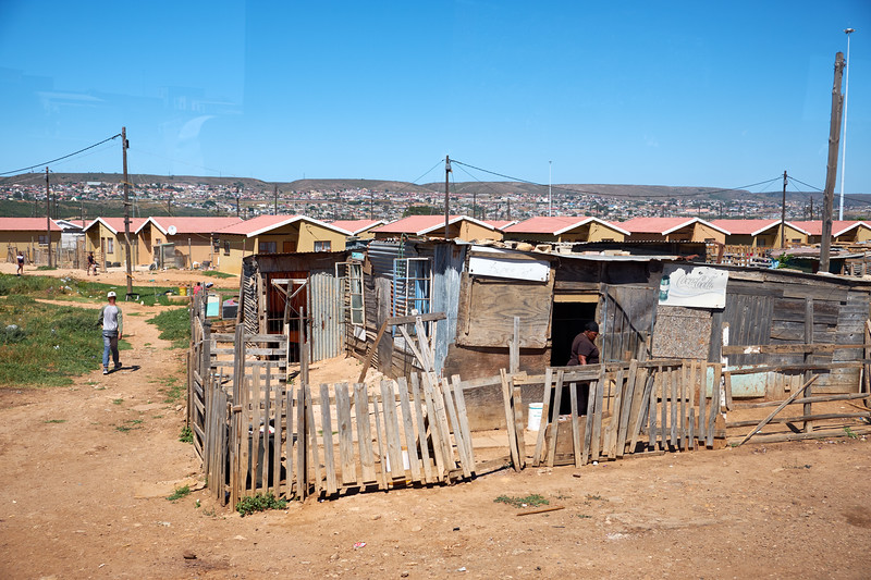 Missionvale Township shacks. (from bus).