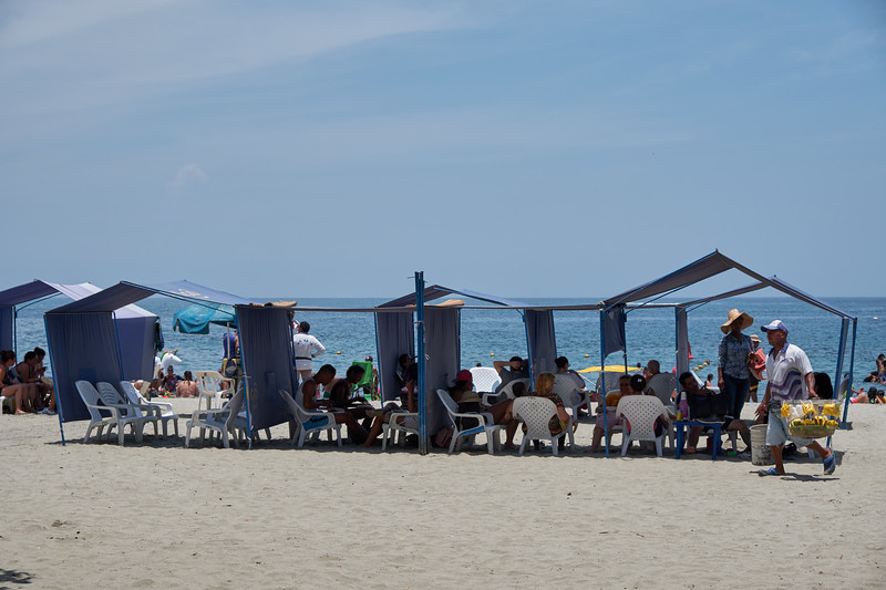 El Rodadero Beach is a lively area and very crowded on a Sunday afternoon.