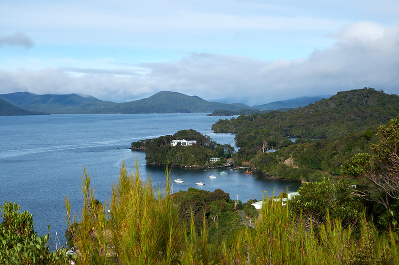 View of Patterson Inlet from Observation Rock. The white house is the southwestern most point on Stewart Island and thus of New Zealand.
