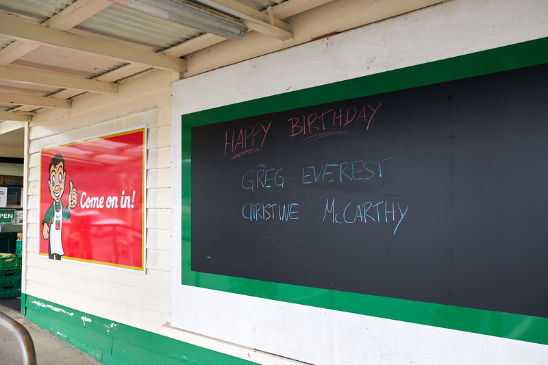 General Store has a log of all 400 locals' birthdays and birthday wishes are posted everyday.