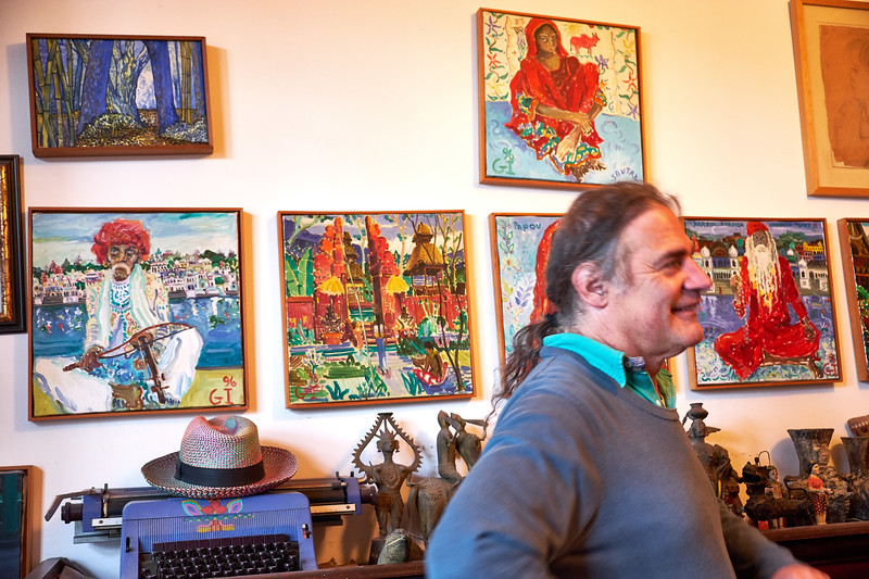 """Gonzalo Ilabaca is a self taught artist who does not paint from a picture but """"paints his own paradise""""."""