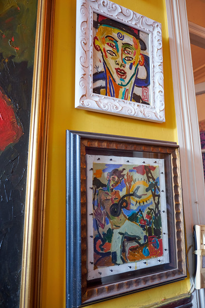 Two of Gonzalo's paintings of his imagination inspired by the likes of Mirro, Modigliani and Picasso.