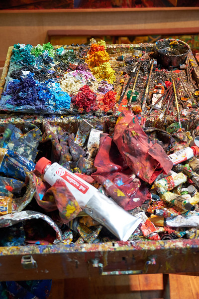 This is one year of accumulated paint. Ilabaca takes this box everywhere he goes to paint. He feels it creates interest in his work as opposed to an off putting camera.