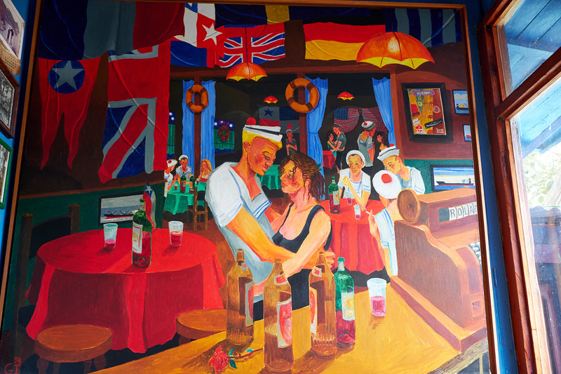 """This painting is of a bar and a sea life that no longer exists. Gonzalo says, """"Painters are the guardians of what will disappear""""."""