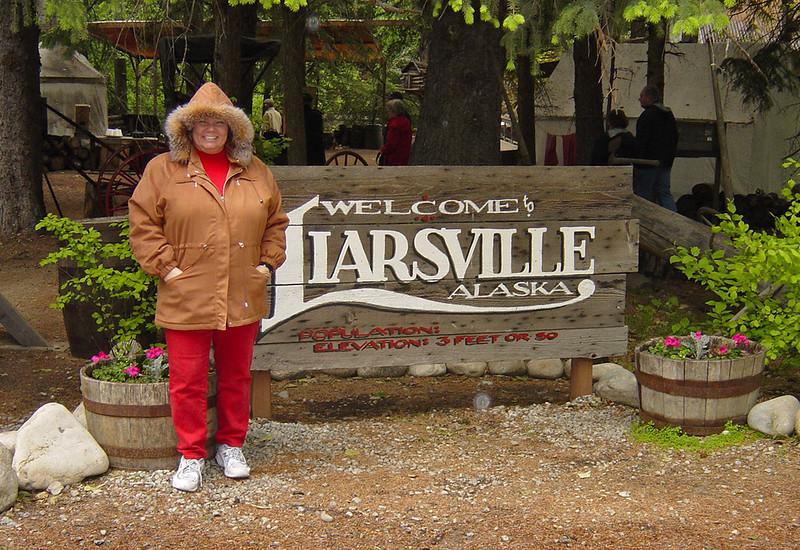 Nancy in Liarsville on Alaska Dance Cruise - 1 June 2003