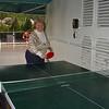 Nancy playing Ping Pong at midnight on Alaska Dance Cruise - 2 June 2003