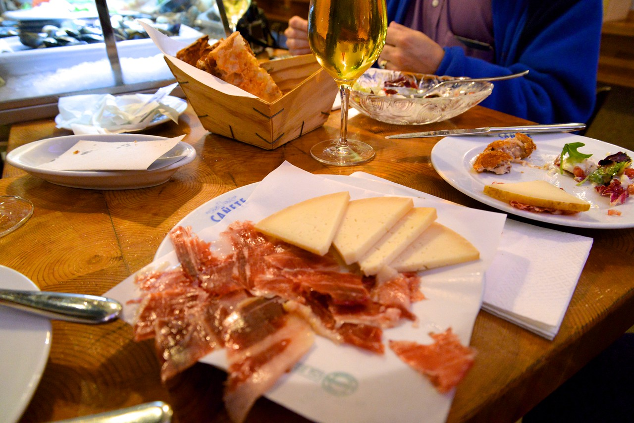 Typical Tapas Dinner…Iberico Ham, Cheese, and Local Favorite Tomato Bread.