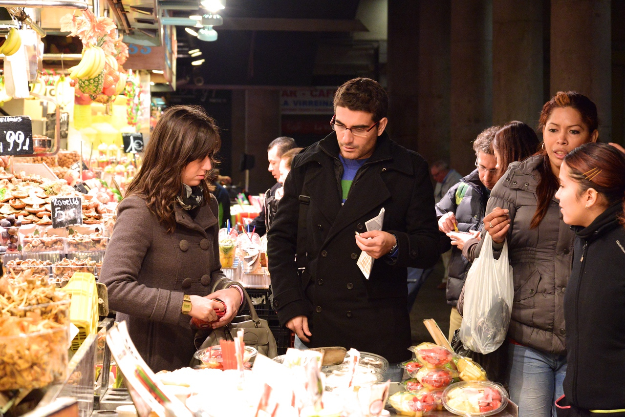 Locals Shopping at Boqueria Food Market.