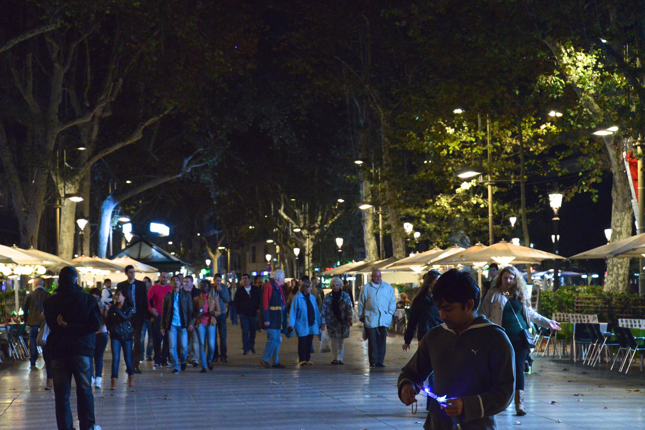 Las Ramblas at Night.