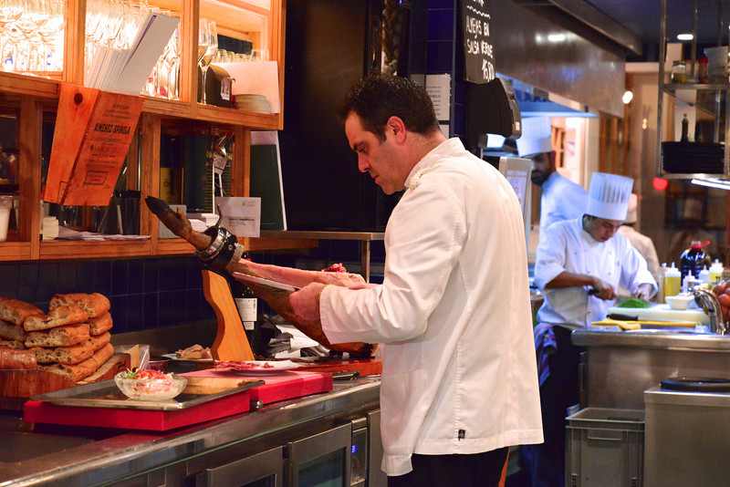 Our Waiter Slicing Iberico at Canete.