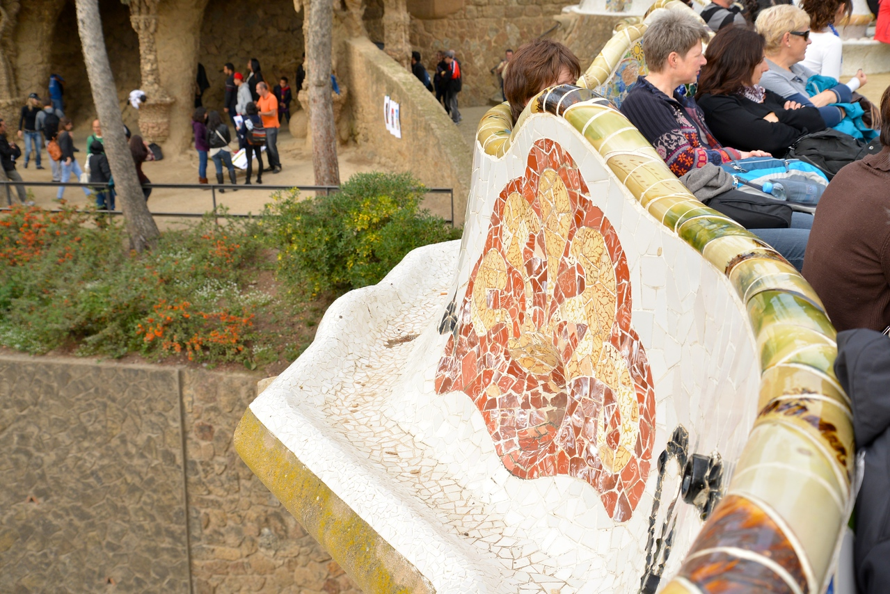 Bench on Right Side, Drainage System on Left at Parc Guell.