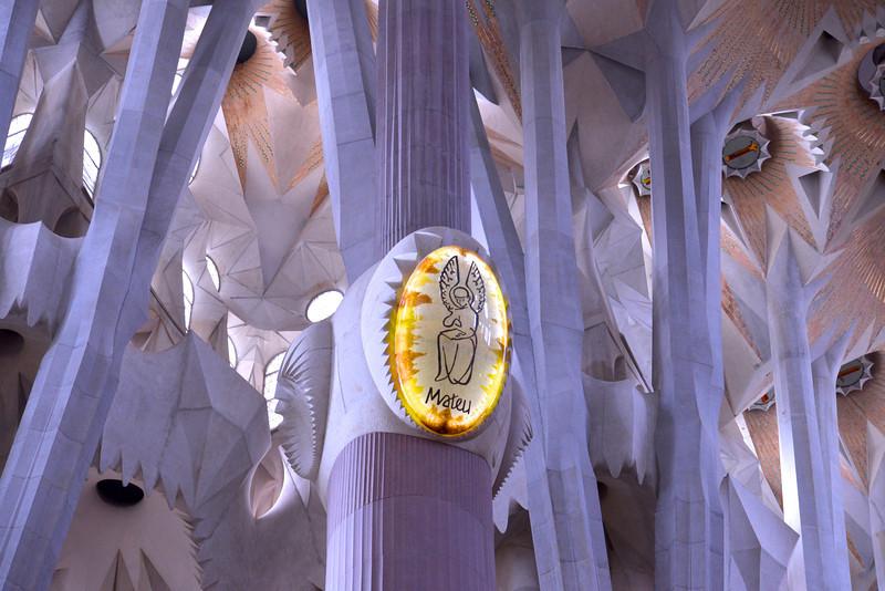 Gospel of Matthew's Medallion Inside Segrada Familia.