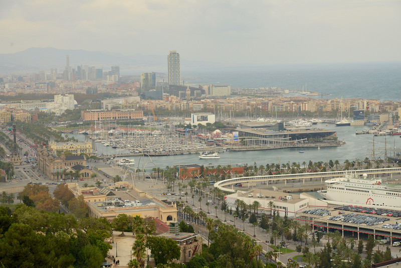 """Lower Right is Approach to Port, Center is """"The Island"""" and Olympic Harbor from Montjuic."""