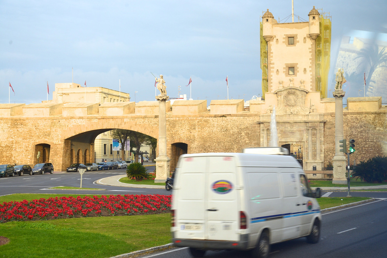 Puerta Tiera, City Gate Going From New Town Back to Old Town Statues Are Servandus and Cermanus, Patron Saints of Cadiz.