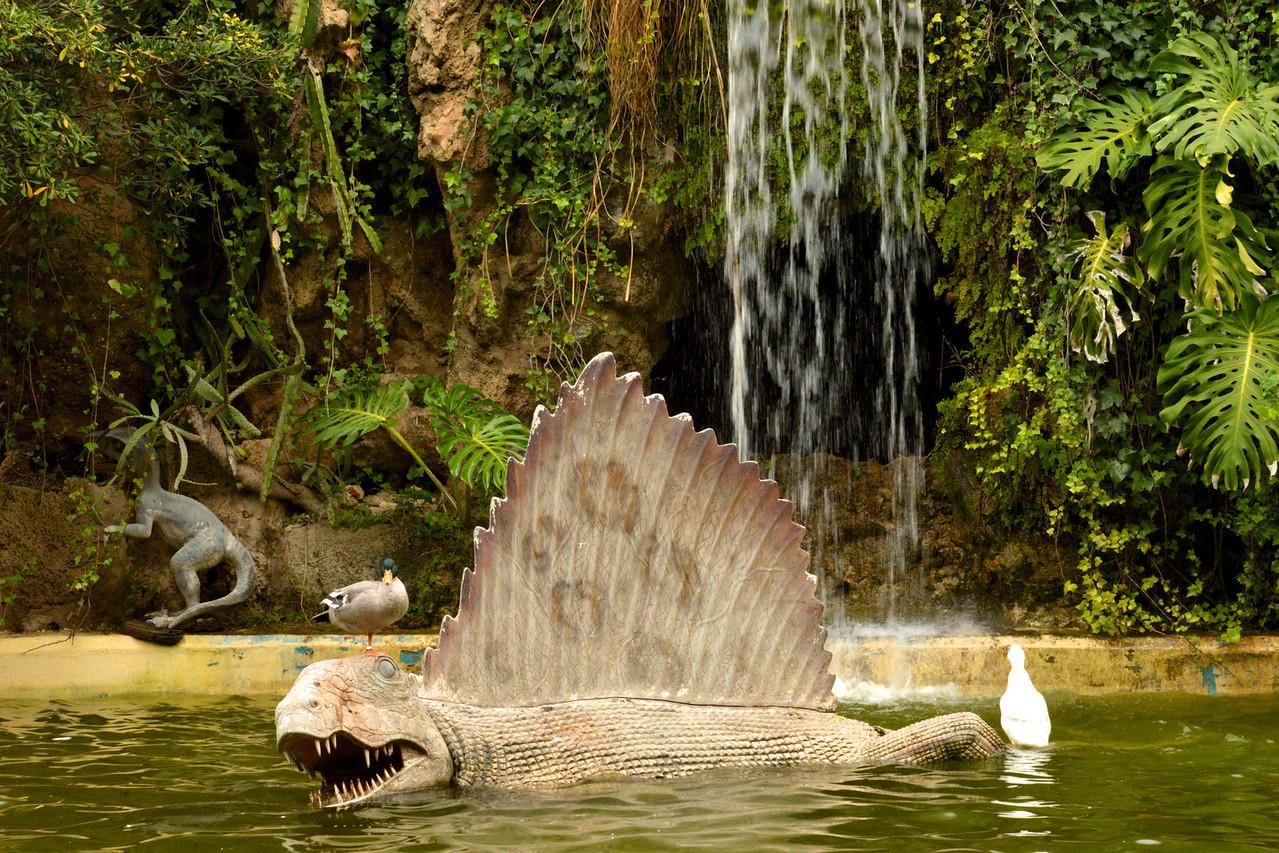 Huge Pond with Bird, Ducks and Alligator Sculptures.